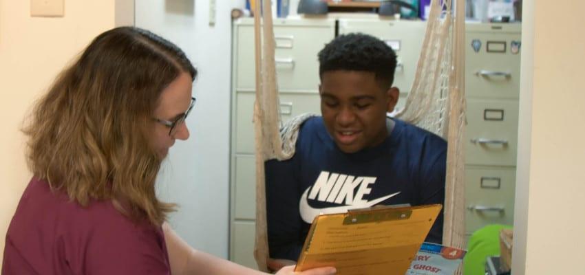 Speech Language Pathologist with student