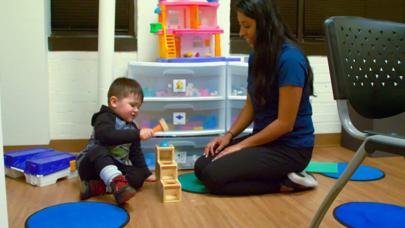Speech therapy - playing on floor